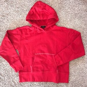 J Crew Shrunken Hoodie Pullover Cotton Red NWOT